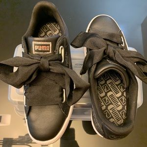 PUMA Black Silver Leather Basket Heart Sneakers